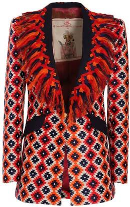 Flare Red Orange Geometric Blazer Belisa