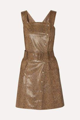 Nanushka Lorena Belted Snake-effect Vegan Leather Mini Dress - Brown