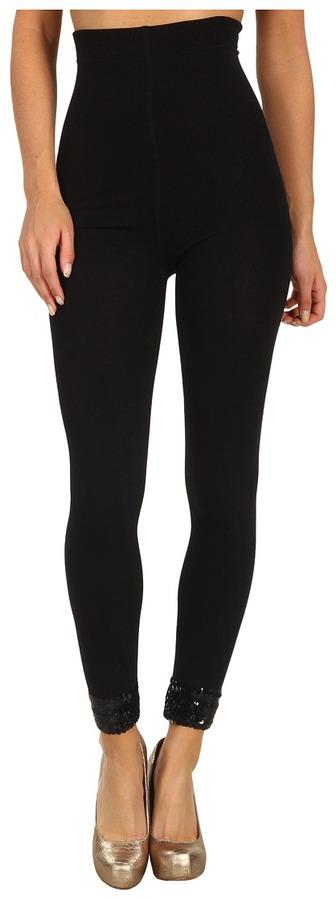 Betsey Johnson Glam Luxe Sequin Cuff Fleece Lined Legging (Black) - Hosiery