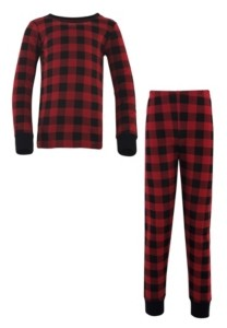 Touched by Nature Big Girls and Boys Buffalo Plaid Tight-Fit Pajama Set, Pack of 2