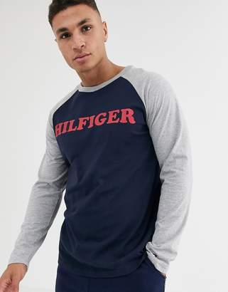 Tommy Hilfiger Tommy lounge long sleeve raglan in navy with chest logo