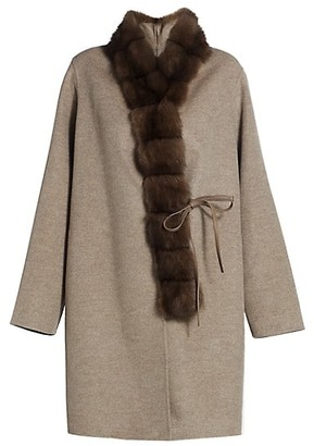 The Fur Salon Manzoni 24 For Sectioned Sable Fur-Collar Cashmere & Wool Coat