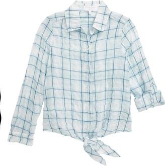 Bella Dahl Check Tie Front Roll Sleeve Shirt