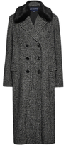 French Connection Rupert Tweed Double Breasted Coat, Black/White