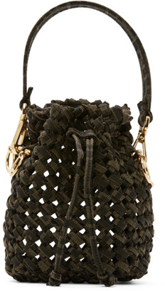 Fendi Brown and Beige Mini Braided Mon Tresor Bag