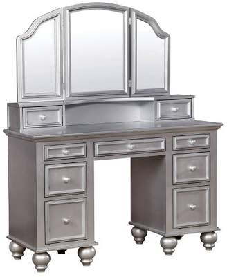 HOMES: Inside + Out Branson Transitional Vanity Table Set Silver - ioHOMES