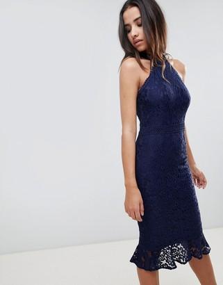 Girl In Mind lace frill hem midi dress-Navy