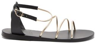 Ancient Greek Sandals Meloivia Metallic Leather Sandals - Black Gold