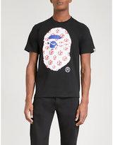 A Bathing Ape Black Printed Union Jack Logo-print Cotton-jersey T-shirt