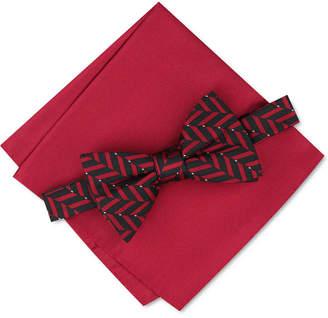 Alfani Men Geometric Pre-Tied Bow Tie & Solid Pocket Square Set
