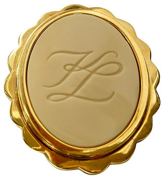 One Kings Lane Vintage Karl Lagerfeld Oversize Cameo Brooch - Wisteria Antiques Etc - gold/ivory