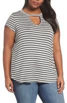Sejour Plus Size Women's Keyhole Stripe Tee