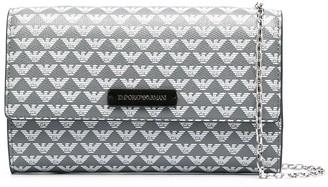Emporio Armani Logo Print Continental Chain Wallet