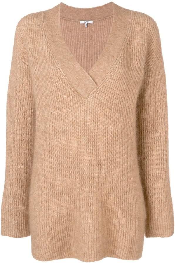 Ganni ribbed v-neck sweater