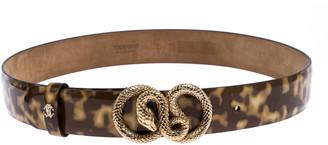 Roberto Cavalli Brown/Cream Patent Leather Snake Buckle Belt 80CM