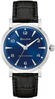 Bulova Limited Edition Automatic American Clipper Black Leather Strap Watch 39mm