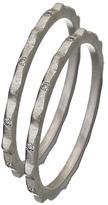Zaiken Silver and Diamond Ridged Stackable Ring
