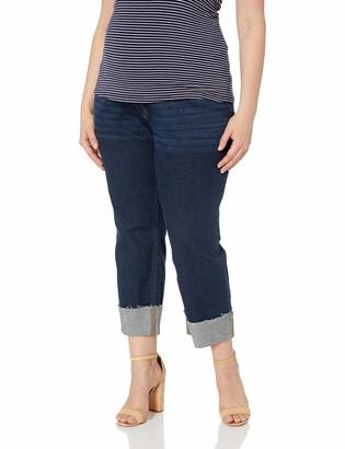 Motherhood Maternity Women's Maternity Indigo Blue Deep Cuff Secret Fit Belly Crop Denim Jean