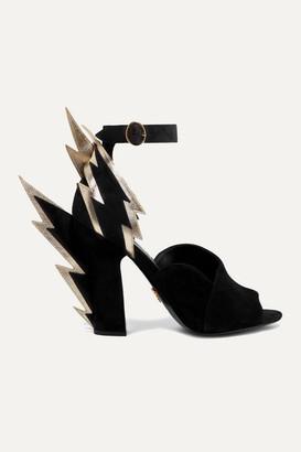 Prada Metallic Textured Leather-trimmed Suede Sandals - Black