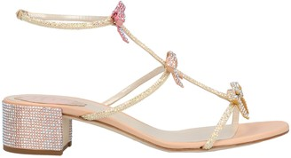 Rene Caovilla Bow Detail Embellished Block Heels