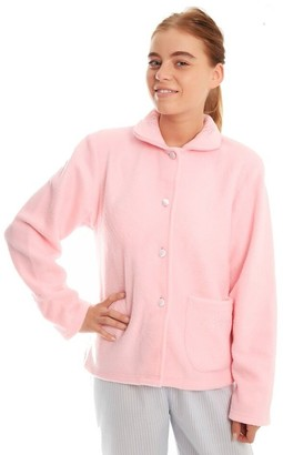 Lady Olga Ladies Womens Daisy Fleece Button Through Bed Jackets Size UK 10-24 (UK 26-28