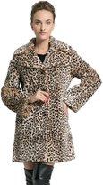Ovonzo Women's Middle Length Leopard Faux Fur Coat L