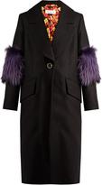 SAKS POTTS System fur-panel wool coat