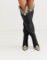 Public Desire Rodeo over the knee western boots in black