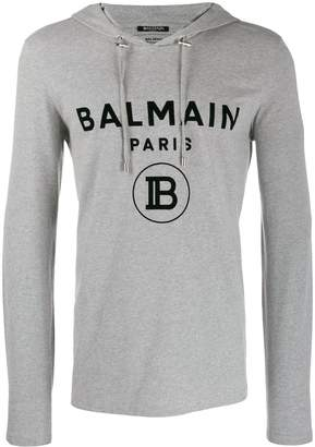 Balmain printed logo hooded sweatshirt