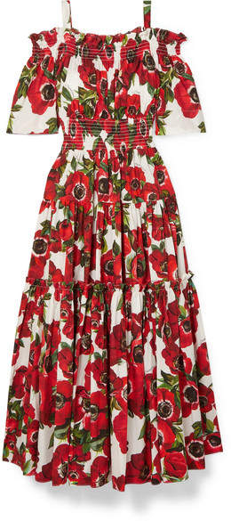 Dolce & Gabbana Cold-shoulder Floral-print Cotton-poplin Midi Dress - Red
