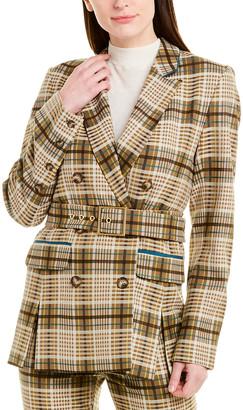 Jonathan Simkhai Tailoring Plaid Wool-Blend Blazer