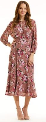 SONJA BETRO Women's Printed Floral Mesh Empire Waist Midi Dress/101DUSTY Rose Print/Tag Size 2X=XXX-Large