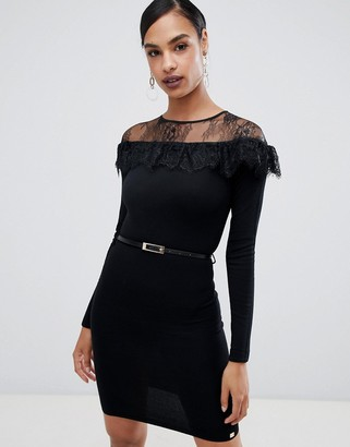 Lipsy long sleeve belted sweater dress with lace detail