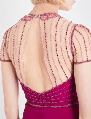 Jenny Packham Crystal-embellished crepe gown