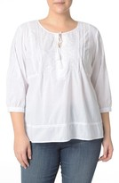 NYDJ Plus Size Women's Embroidered Voile Top