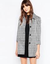 Helene Berman Short A-Line Coat In Uneven Stripe
