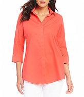 Investments Y-Neck Button Front