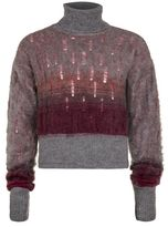 Topman DESIGN Grey and Red Distressed Turtle Neck Sweater