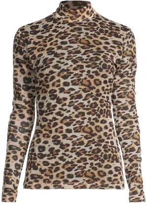 Nicole Miller Leopard-Print Mesh Top