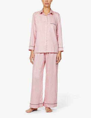 POUR LES FEMMES Contrast-trim cotton-poplin pyjama set