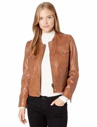 Lucky Brand Women's Zip Front Leather Jacket
