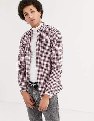 Tommy Jeans flag logo essential check shirt in white multi