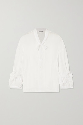 Comme des Garcons Pussy-bow Ruffled Georgette Blouse - White