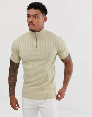 Asos Design DESIGN knitted rib half zip t-shirt in oatmeal-Beige