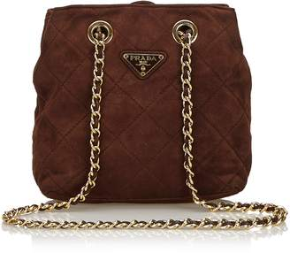 Prada Brown Quilted Suede Chain Shoulder Bag