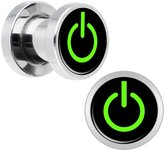 Body Candy Stainless Steel Green Power Button Screw Fit Plug Pair 2 Gauge