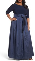 Adrianna Papell Plus Size Women's Mixed Media Gown