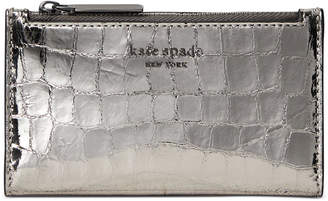 Kate Spade Sylvia Croc Embossed Slim Bifold Leather Wallet