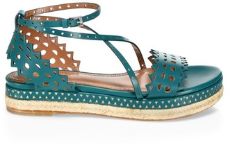 Alaia Laser Cut Leather Platform Espadrille Sandals