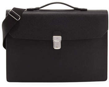 Dunhill Cadogan Leather Flap Briefcase, Black